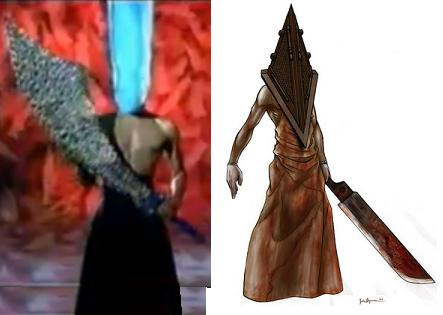 Cappella musavideos (1994 a.) olev imelik tegelinski ja Silent Hill'i erinevate produktsiooni-ilmingute (alates 1999 a.) seas figureeriv Pyramid head.